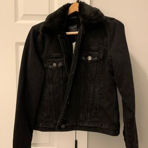 NWT Abercrombie & Fitch Blk Lined Jean Jacket